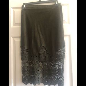 New Suede & Lace Midi Skirt